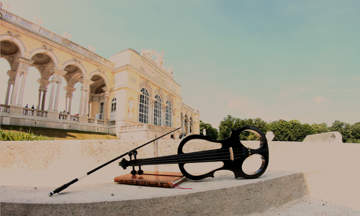 electric violine in front of the Gloriette in Schoenbrunn Palace / Vienna