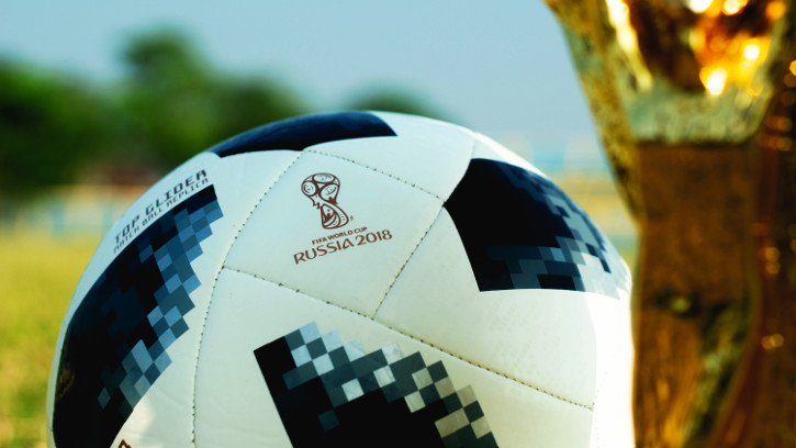Worldcup 2018 soccer ball and cup