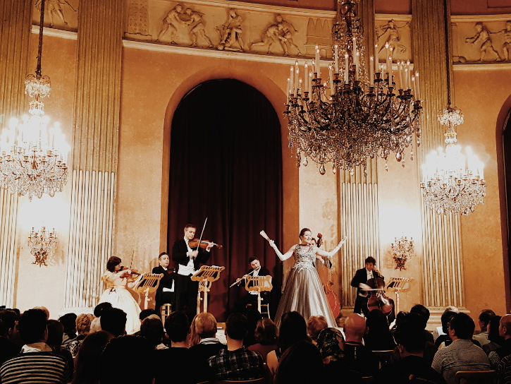 The Vienna Residence Orchestra with a soprano on stage