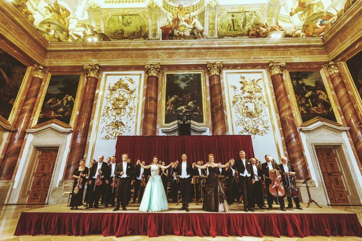 The Vienna Hofburg Orchestra on stage at the Herkulessaal / Gardenpalais Liechtenstein