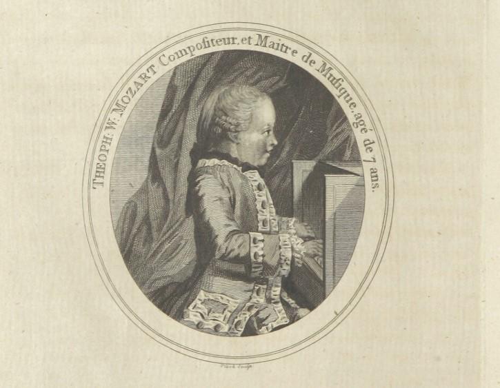Mozart als Kind am Klavier, Bild von einem Kupferstich