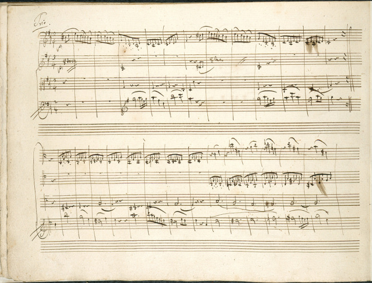 Komposition von Mozart Menuett GDur als Trio KV1