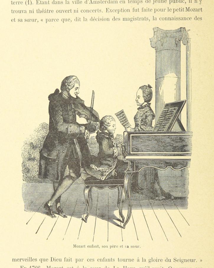 Mozart am Klavier, mit seinem Vater an der Geige und seiner Schwester