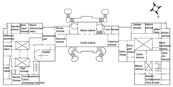 room plan of the 1st floor of Schoenbrunn Palace