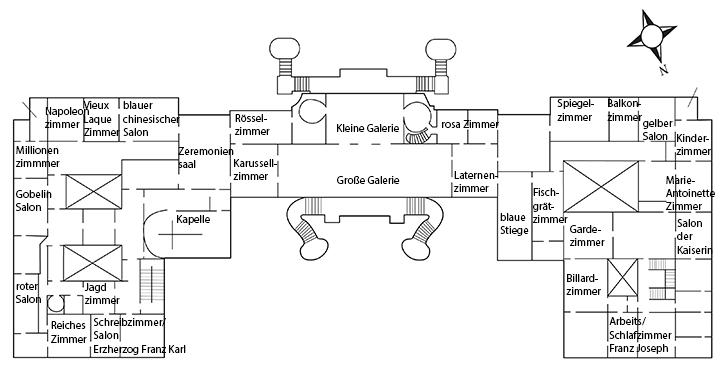 Zimmerplan Beletage 1.Stock Schloss Schönbrunn