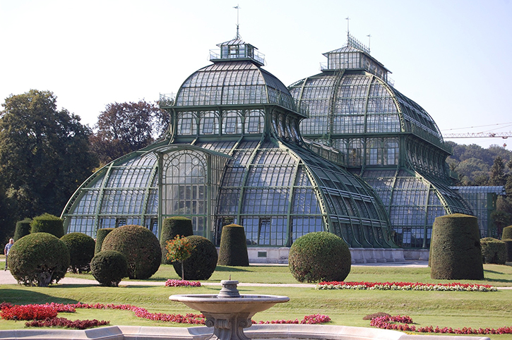 The palm house at the schoenbrunn area in Vienna